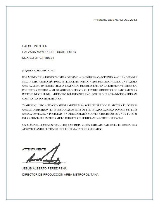 La carta de renuncia universitariamente